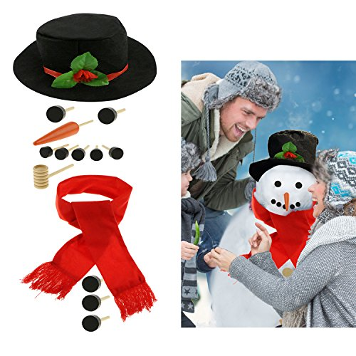 Homga Snowman Making Kit - Includes Hat Scarf Carrot-Nose Tobacco Pipe and Black Dots for Eyes Mouth Buttons (Large)