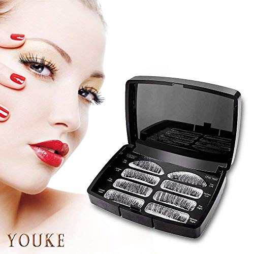 Long Dual Magnetic False Eyelashes, 0.2mm Ultra Thin 3D Reusable Fake Lashes, Full Size Natural Look 1 Pair 4 Pieces-052