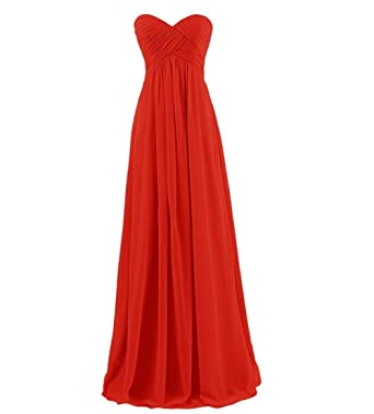 Womens Strapless Sweetheart Chiffon Bridesmaid Dresses Prom Dresses Long Evening Gowns