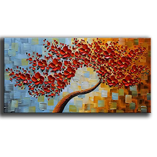 nted Contemporary Art Oil Painting On Canvas 3D Red Tree Paintings Modern Home Decor Wall Art for Living Room Ready to Hang 24x48inch ()