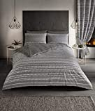 Select-ED Luxury SEB Stripe Design Modern Duvet Cover Sets Reversible Bedding Sets GC (Grey, King Size)
