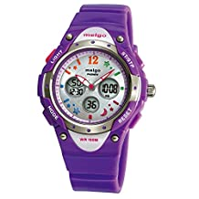 Kid's Girl's Watches, Dual Time Waterproof Sports Casual Wrist Watches with star bling 2001ad Purple