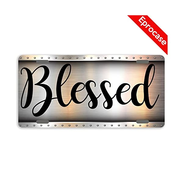 License-Plate-Blessed-License-Plate-Cover-Decorative-Car-Tag-Sign-Metal