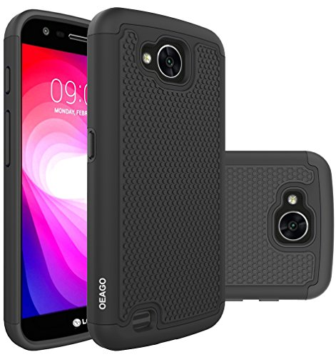 LG X Calibur Case, LG X Venture Case, OEAGO [Shockproof] [Impact Protection] Hybrid Dual Layer Defender Protective Case Cover for LG X Calibur / LG X Venture - Black (Venture Mobile)