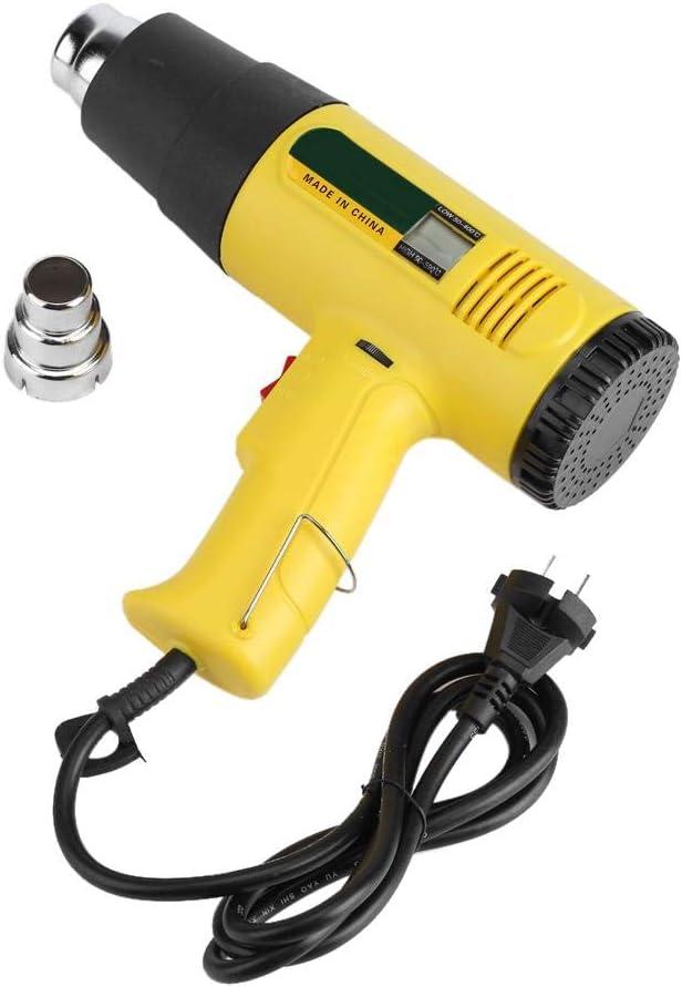 Jadpes Pistola de Calor de Aire Cali, 220V 2000W Termostato Ajustable eléctrico multifunción Soplador de Pistola de Calor de Aire Caliente con Pantalla Digital Volumen de Aire de Viento FR