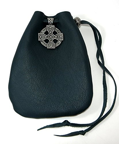 Green Leather Drawstring Pouch with Celtic Cross Pewter Accent and Bead