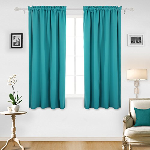 Deconovo Room Darkening Drapes Thermal Insulated Blackout Curtains Rod Pocket Curtain Panel 42W x 63L Inch Turquoise Set of 2 (Set Curtain)