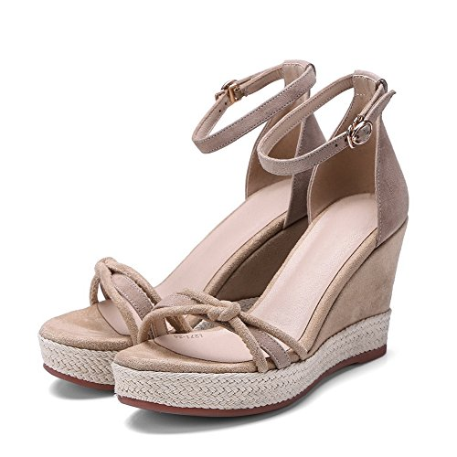 AN Womens Sandals Peep-Toe Firm-Ground Nubuck Urethane Sandals DIU00610 Apricot kFOsf5zkZm