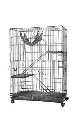 Homey Pet-36 Three Tiers Cat Cage w/Pull Out Tray, Sleeping Platform and Casters(CT-P3W) (Three Box Tier Litter)