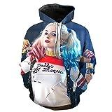 Lu&lu Men Women 3D Printed Harley Quinn Pullover Cartoon Hooded Sweatshirt Blouse Fleece (US S-5XL)