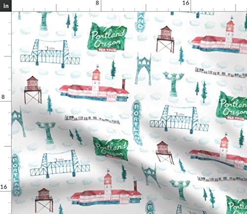 Portland Fabric - Old Town Building Watercolor Upholstery Oregon Cityscape Landmarks Northwest Pdx Print on Fabric by the Yard - Organic Cotton Knit for Baby Blankets Clothing Apparel T-Shirts