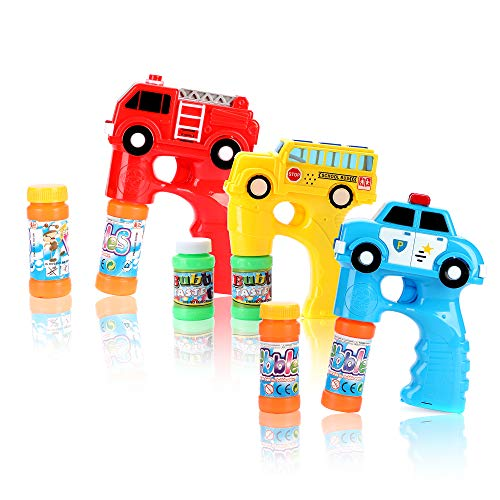 Fun Central 3 Pack - LED Bubble Machine - Light Up Bubble Gun Blower for Kids with Bubble Solution - Police Car, School Bus, Fire Truck