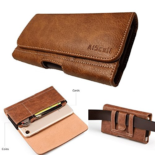 AIScell Universal Cellphone Pouch [Brown Wallet Leather Case Belt Clip Holster 6.60x3.50x0.60 In]Compatible Iphone Xs Max ,8 Plus,7 Plus,6/6S Plus With Otterbox Commuter/Symmetry/Hybrid Cover (009 Bn)
