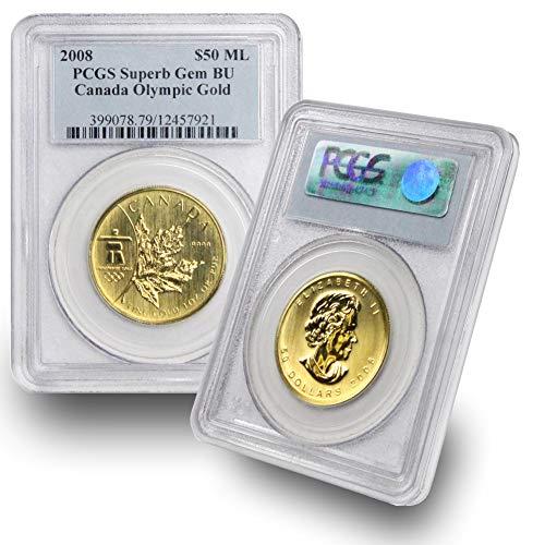 - 2008 CA 1 oz Canada Olympic Gold Maple Leaf $50 Superb Gem BU PCGS .9999 Fine Gold