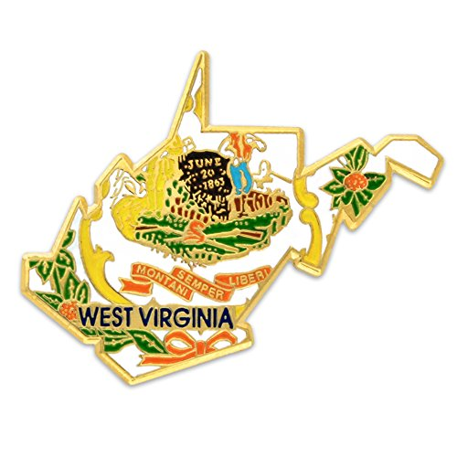 PinMart State Shape of West Virginia and West Virginia Flag Lapel Pin