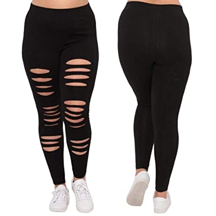 3ebe9dea90e7bf Image Unavailable. Image not available for. Color: Women Pants Stretch  Destroyed Hole Ripped Skinny ...