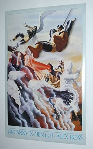1995 X-Men poster! Rare vintage original 1990's Uncanny X-Men 1 cover art poster featuring artwork by Alex Ross in homage to Jack Kirby. Scarce 90's Marvel Comics poster showing the Beast, Iceman, Cyclops, The Angel, Marvel Girl Jean Grey, vs Magneto ()