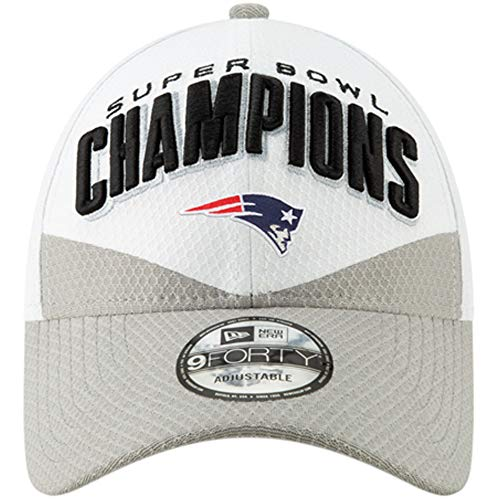 New Era New England Patriots White/Gray Super Bowl LIII Champions Trophy Collection Locker Room 9FORTY Adjustable Hat