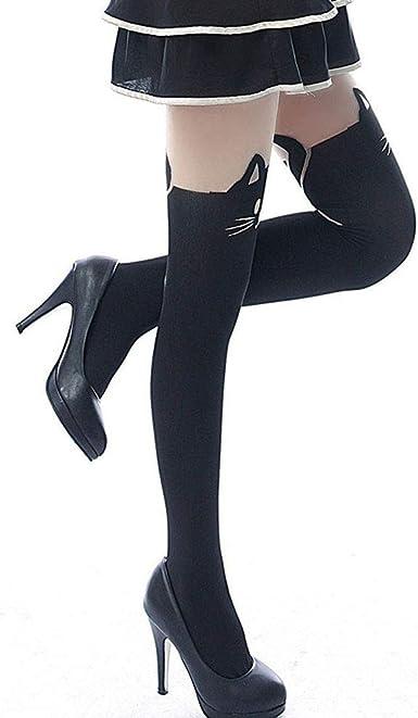 Hosaire Medias de la manera Stocking Negro con calcetines hasta la ...