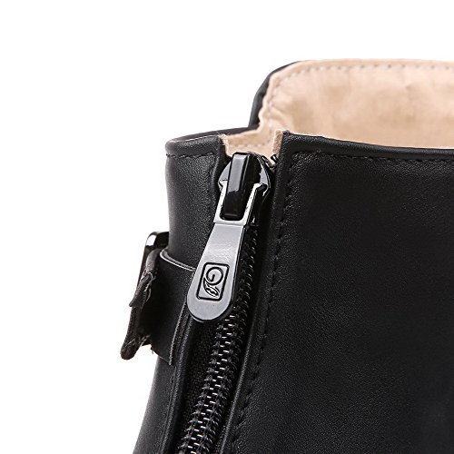 Heels Solid AmoonyFashion Zipper Boots Round Kitten Toe Closed Black Soft Women's Material 0q1pFH
