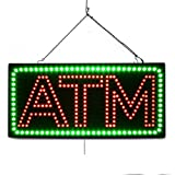 Large LED Open Sign ''ATM'' 10''X20'' size, ON / OFF / FLASHING MODE (LED-Factory #1935fba)