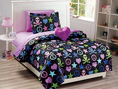 (Mk Collection Kids/Teens 6 PC Twin Size Peace Signs Hearts Skulls Zebra Print Stars Black Pink Blue Green Purple Comforter And Sheet Set With Furry Buddy Included New)