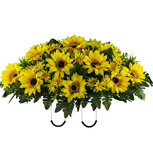 Sympathy Silks Artificial Cemetery Flowers - Realistic Vibrant Sunflowers Outdoor Grave Decorations - Non-Bleed Colors, and Easy Fit - Yellow Sunflower Saddle
