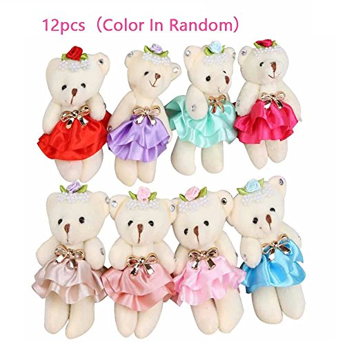 "KateDy Lovely Skirt Diamond Teddy Bear 4.7"" Joint Bear Plush Toys Cotton Doll Animal Toys Doll Baby Kids Stuffed Toy,Great Wedding Gift Chrimas Gift Birthday Gift(12pcs)"