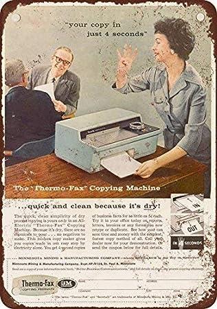 1958 Thermo-fax máquina Copiadora, diseño clásico de reproducción Tin Sign – Placa de