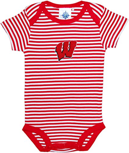 University of Wisconsin Badgers Newborn Striped Baby Bodysuit,Red,3-6 Months