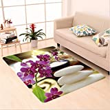 Nalahome Custom carpet a Decor Luxury on Top Spa Day with Stones Herbal Salts and Exotic Flowers Purple White and Green area rugs for Living Dining Room Bedroom Hallway Office Carpet (22''x36'')
