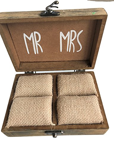 Elegant Blooms & Things Solid Wood Ring Box with Burlap Pillow Lining, Wedding, engagement, marriage, two shall become one by Elegant Blooms & Things