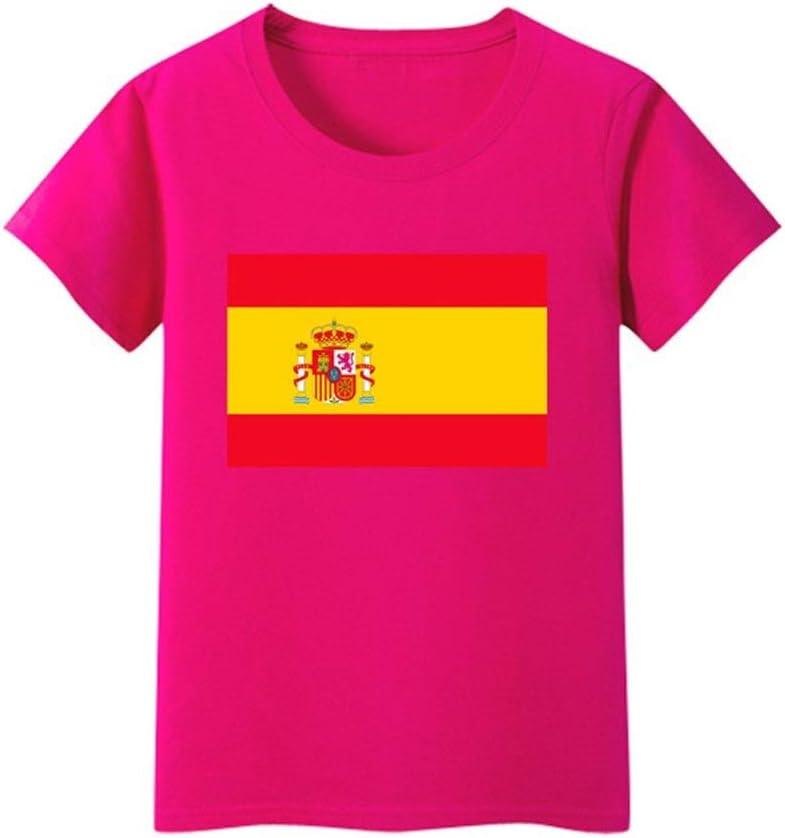 Daqin Bandera Española Hombres Y Mujeres De Manga Corta Clase De Desgaste De Los Niños Escuela Primaria Rendimiento del Estudiante Camiseta Camiseta Ropa Verano (Color : Light Pink, Tamaño : 175cm): Amazon.es: