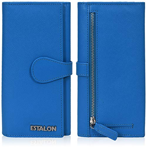 Leather Wallets for Women - RFID Blocking Checkbook Wallet with 11 Card Slots