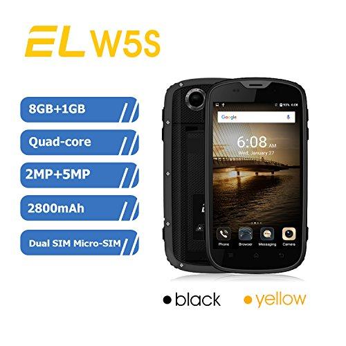 Gps Unlocked Smartphone - Rugged Smartphone IP68 Waterproof Smart phone E&L W5S Shockproof, Dustproof,GPS Smartphone, Unlocked Mobile Phone, Android 7.0, 3G WCDMA Dual-SIM, 8GB ROM+1GB RAM