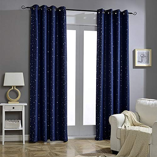 Jaoul Night Sky Twinkle Constellation Kids Blackout Curtains for Bedroom, Space Inspired Window Grommet Nursery Drape, 1 Panel, 52 x 84 Inch, Navy Blue (Blackout Pretty Curtains)