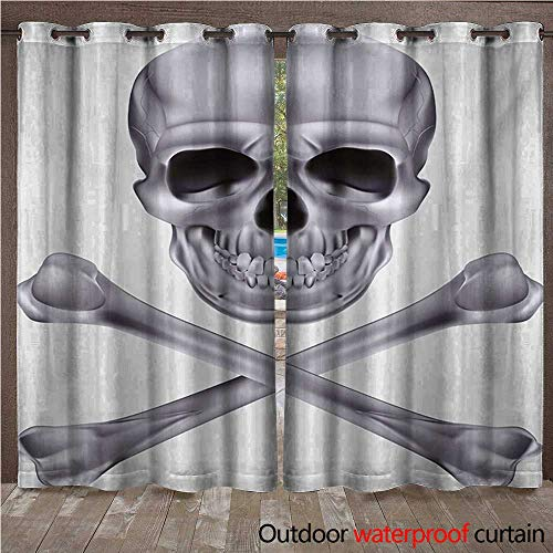 (WilliamsDecor Grey Outdoor Ultraviolet Protective Curtains Vivid Skull and Crossed Bones Dangerous Scary Dead Skeleton Evil Face Halloween Theme W96 x L108(245cm x)