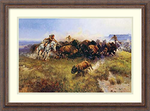 Framed Wall Art Print | Home Wall Decor Art Prints | The Buffalo Hunt by Charles Russell | Country Rustic Decor