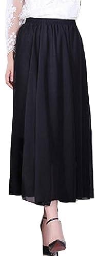 LiliumoonシフォンふんわりフレアAラインロングマキシ丈スカート裏地付全18色80cm丈・90cm・100cm丈3タイプレディースファッション(90cm丈・グレー)