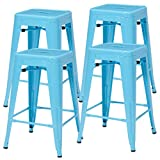 Cheap Duhome 4 pcs 24″ Metal Chairs Tolix Style Stackable Dining Stools Indoor Outdoor Restaurant Cafe Industrial Design (Blue)