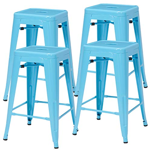 Duhome 4 pcs 24 Metal Chairs Tolix Style Stackable Dining Stools Indoor Outdoor Restaurant Cafe Industrial Design Blue