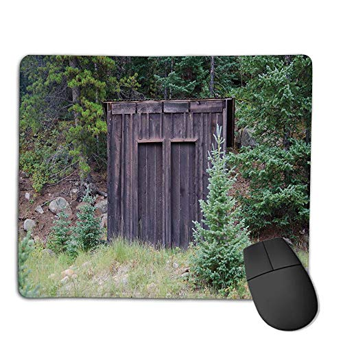 Mouse Pad Custom,Mouse Pad Non-Slip Thick Rubber Large MousepadOuthouse,Farm Life House Wooden Door of Cottage Hut in Woodland Leaves Art Print,Dark Brown and Green,Suitable for Any Mouse Type, Home ()