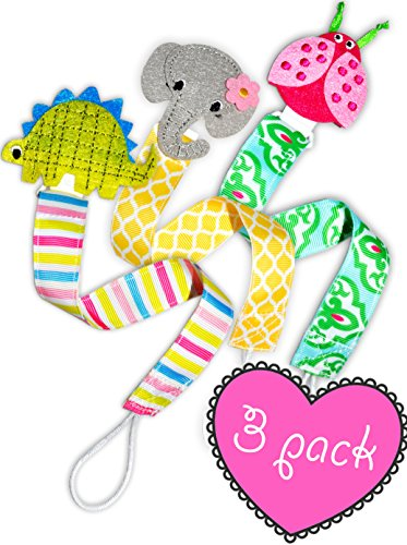 Cute Soothie Baby Pacifier Holder Clip for Girl and Boy- Premium 3 Pack Animal Holders- Elephant, Ladybug, Dinosaur, For Stuffed Animal, Teething Ring, Bib Clips - Perfect For Baby Shower and Newborn