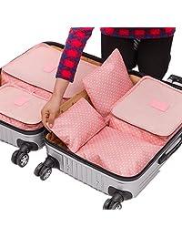 American Trends Lovely Travel Gear Pringting Suitcase Durable 6 Piece Weekender Pink Dot