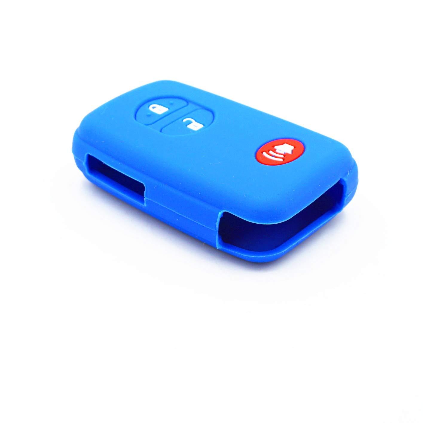 WFMJ 2Pcs Blue Red Silicone for Toyota 4Runner Avalon Camry Corolla Highlander Land Cruiser Venza Prius C V PHV RAV4 Prado 3 Buttons Smart Key Case Keyring Cover Chain