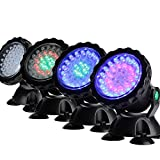 Much Underwater Light, Waterproof IP 68 Submersible Spotlight with 36-LED Bulbs 7W Multi-Color Spot Light for Aquarium Garden Pond Pool Tank Fountain Waterfall (1 Set of 4 Pcs)