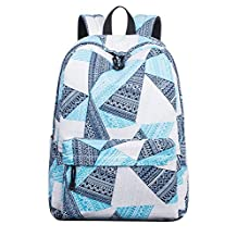 School Bookbag for Girls, Geometric Floral Waterproof Laptop Backpack Hiking Travel Daypack Large Blue
