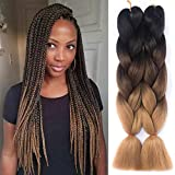 "Amecire 24"" 3 Tone Jumbo Ombre Braiding Hair Crochet Braiding Box Braids Synthetic"