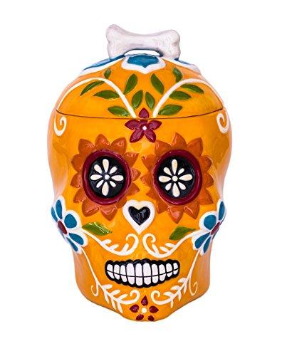 Blue Sky Ceramic Sugar Skull Orange Canister, Multicolor -