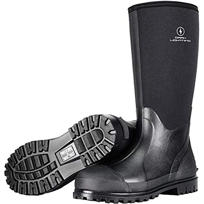 Dark Lightning Rubber Boots for Men and Women, Waterproof Muck Rain Boots with Steel Shank for Fishing Hunting,Neoprene Durable Black Rubber Boots